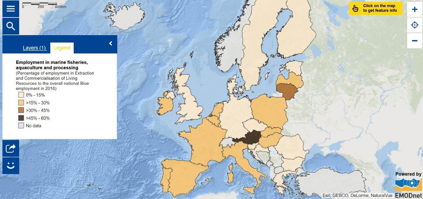 Map of the Week - Employment in marine fisheries, aquaculture and processing