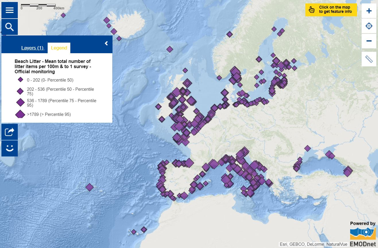 Map of the week – Number of beach litter items