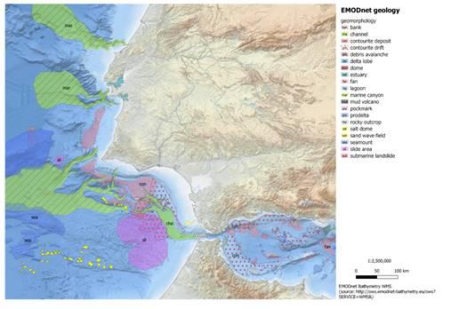 EMODnet Geology map section west and east of Gibraltar - EMODnet