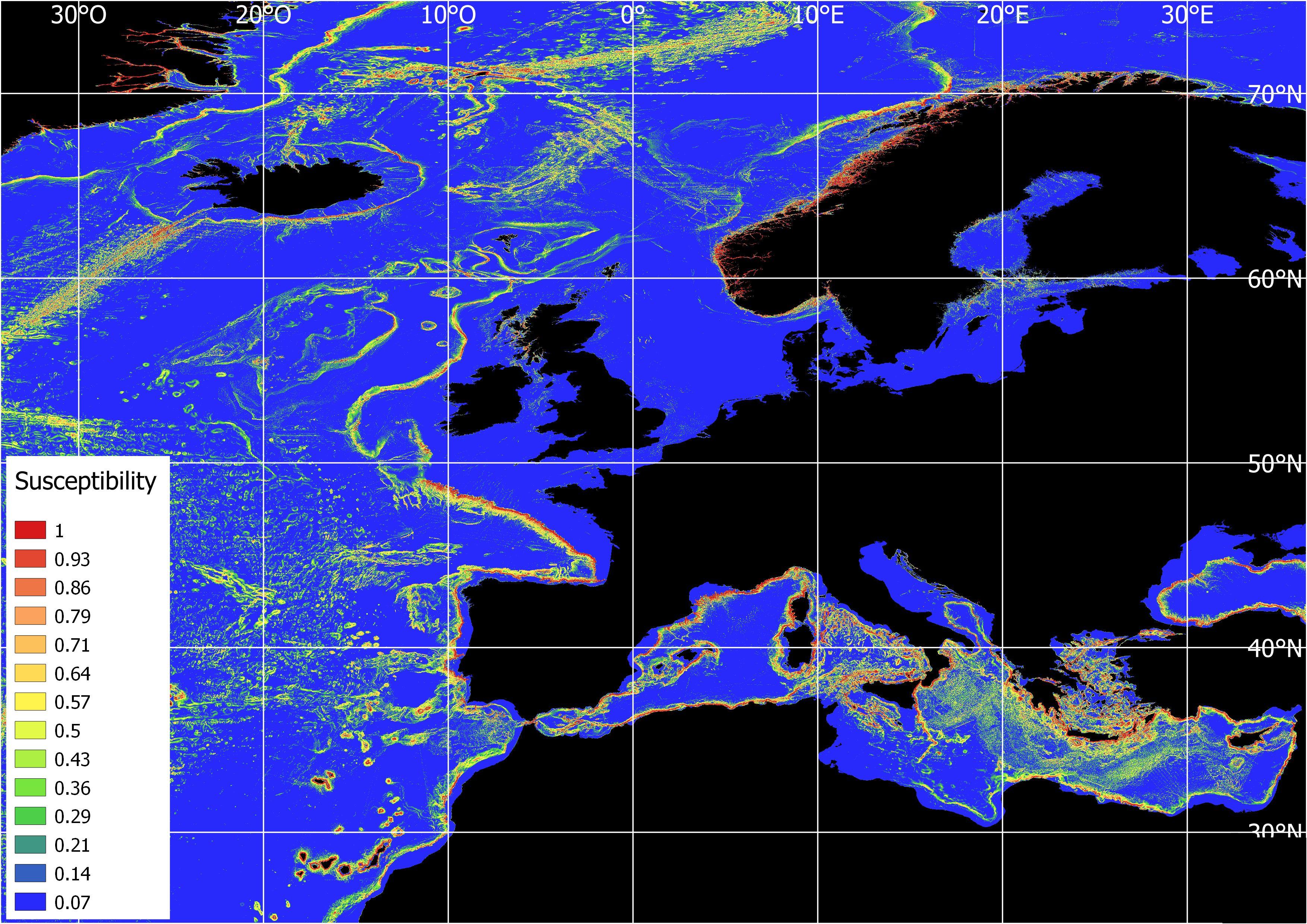 Submarine landslides susceptibility map