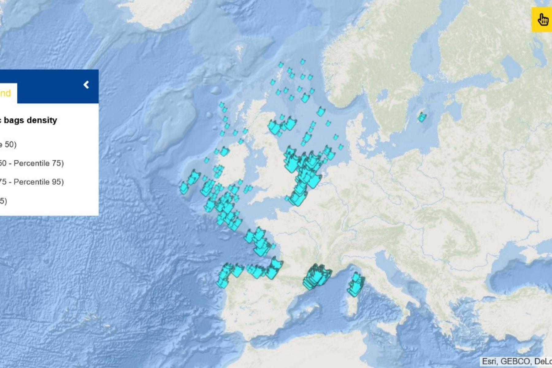 Map of the Week – Seafloor litter – Plastic bags density