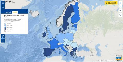 Map of the week – Blue Indicators – Employment in Coastal Tourism