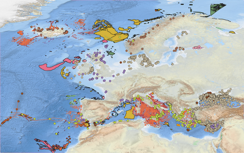 Updated Geological events layers - DTM from EMODnet Bathymetry / data from EMODnet Geology Work Package 6 Geological events and probabilities